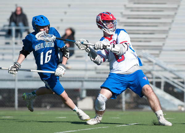 04/20/18 Wesley Bunnell   Staff Berlin boys lax defeated Bristol Eastern 18-3 on Friday afternoon at Sage Park. TJ Hebert (6).