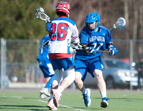 04/20/18 Wesley Bunnell   Staff Berlin boys lax defeated Bristol Eastern 18-3 on Friday afternoon at Sage Park. Brian Formica (26) and Ethan Mathieu (27).