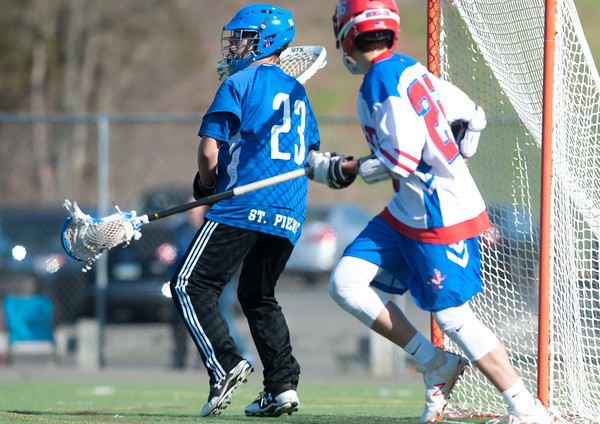04/20/18 Wesley Bunnell   Staff Berlin boys lax defeated Bristol Eastern 18-3 on Friday afternoon at Sage Park. Jordan St. Pierre (23) in goal.