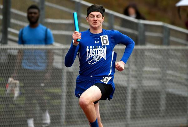 4/27/2018 Mike Orazzi | Staff Bristol Eastern High School's Dylan Braccia during the Bristol Eastern High School track invitational held on Friday.