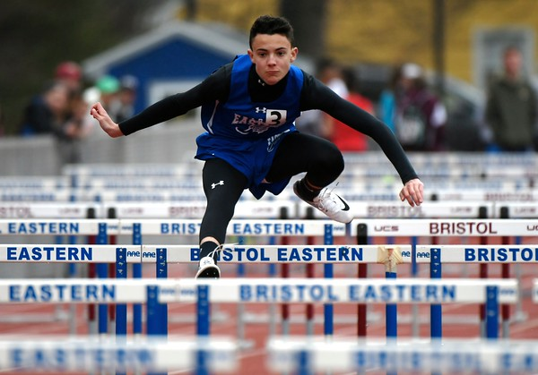 4/27/2018 Mike Orazzi | Staff Bristol Eastern High School's Drew Dauphinee during the track invitational held on Friday at Eastern.