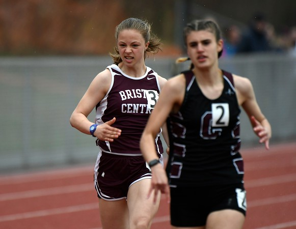 4/27/2018 Mike Orazzi | Staff Bristol Central's Abigail Calfe during the Bristol Eastern High School track invitational held on Friday.