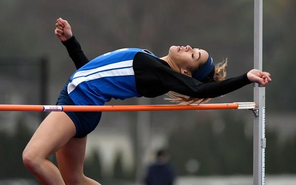 4/27/2018 Mike Orazzi | Staff Plainville High School's Samantha Lozefski during the Bristol Eastern High School track invitational held on Friday.