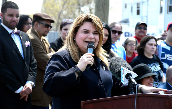 4/28/2018 Mike Orazzi | Staff Jenniffer Aydin González Colón, the current and 20th Resident Commissioner of Puerto Rico, at the dedication to the 65th infantry of the U.S. Army, known as the Borinqueneers Saturday at the intersection of Beaver Street, Washington Street and Farmington Avenue.