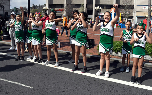 4/28/2018 Mike Orazzi   Staff Northend School cheerleaders during the annual Hoops for Homeless in downtown New Britain.