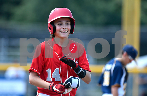 8/9/2017 Mike Orazzi | Staff New Jersey's Charlie Meglio (14) during the Eastern Regional Little League Tournament in Bristol Wednesday afternoon.