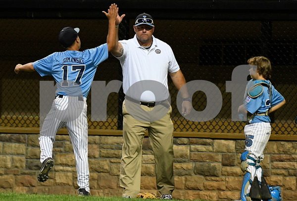 8/10/2017 Mike Orazzi | Staff Maryland celebrates a win over Delaware in the Eastern Regional Little League Tournament at Breen Field in Bristol Thursday night.