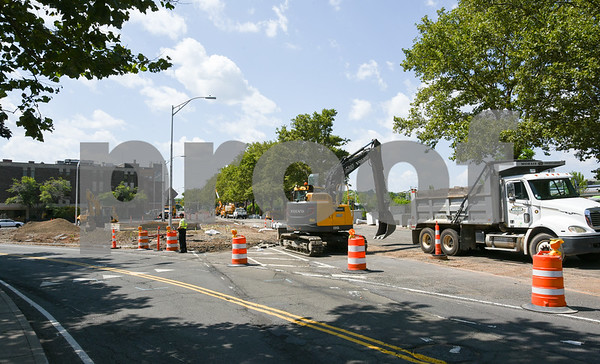 080917 Wesley Bunnell | Staff Construction continues on Wednesday afternoon at the former water fountain in Leo A. Milewski Park. The park is situated where Columbus Boulevard intersects with Bank Street.