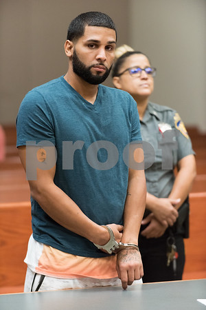 081417 Wesley Bunnell | Staff Pedro Maldonado, 33, of Bristol was arraigned in front of Judge Joan Alexander in New Britain Superior Court on Monday afternoon. During a traffic stop last Friday afternoon Maldonado pulled away dragging a New Britain Police Officer for a short distance.