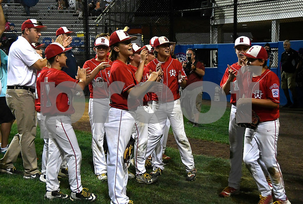 8/12/2017 Mike Orazzi | Staff New Jersey after winning the Mid-Atlantic Regional Final at the Eastern Regional Little League Tournament at Breen Field in Bristol Saturday night.