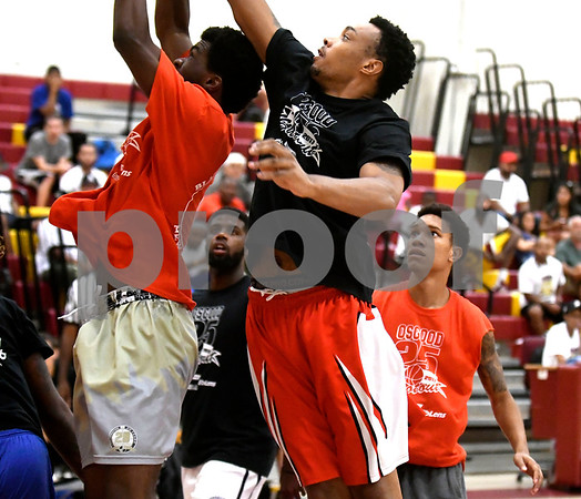 8/19/2017 Mike Orazzi | Staff Ryan Wilmont under the hoop during the Osgood Shootout at New Britain High School Saturday.