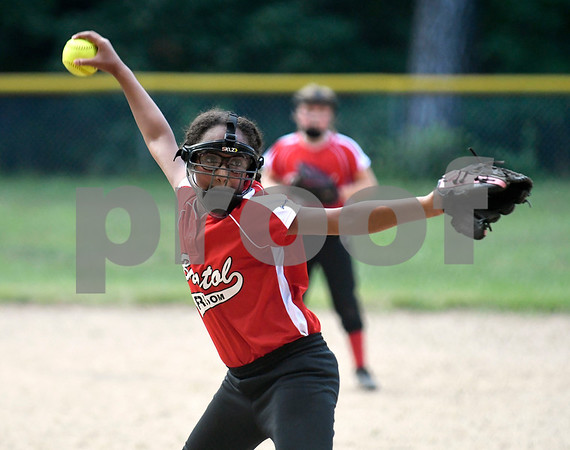 8/22/2017 Mike Orazzi | Staff Bristol Freedom's Jayna Hatcher (6) during the city series in Rockwell Park Tuesday evening.