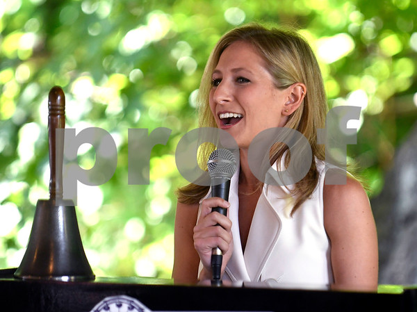 8/24/2017 Mike Orazzi | Staff Jenn Bernstein, a news anchor for FOX61, emcees the annual Crocodile Club Dinner meeting presented by the New England Carousel Museum at Lake Compounce Thursday afternoon.