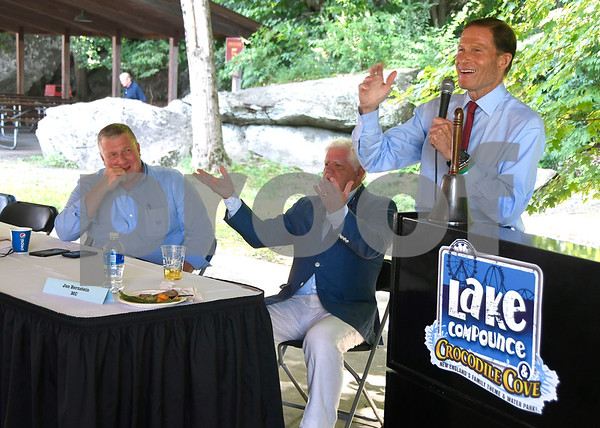 8/24/2017 Mike Orazzi | Staff Bristol Mayor Ken Cockayne, U.S. Congressman John Larson and U.S. Senator Richard Blumenthal during the annual Crocodile Club Dinner meeting presented by the New England Carousel Museum at Lake Compounce Thursday afternoon.