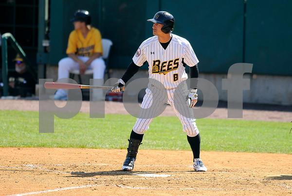 8/31/2017 Mike Orazzi | Staff New Britain Bees' Yusuke Kajimoto (8) Wednesday morning.