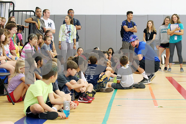 Bristol Blues player Mitch Guilmette visits children at the Boys & Girls Club for a meet and greet. The event was organized by Briana Root and George Klimek.