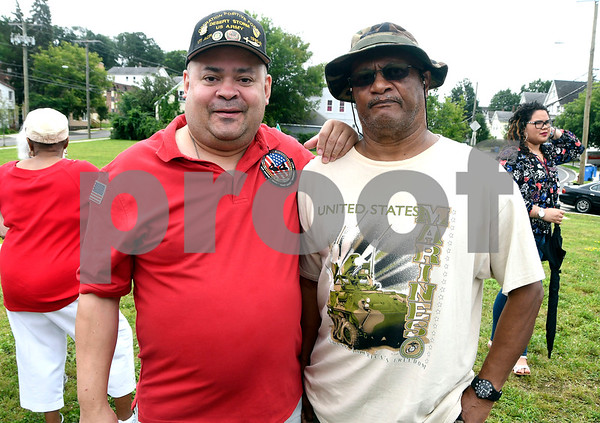 8/5/2017 Mike Orazzi | Staff Carmelo Fiqueroa and Miguel Torruella during the ground breaking for a monument honoring a Puerto Rican regiment of the U.S. Army's 65th Infantry Regiment, known as the Borinqueneers, Saturday in New Britain at the intersection of Beaver and Washington streets, and Farmington Avenue.