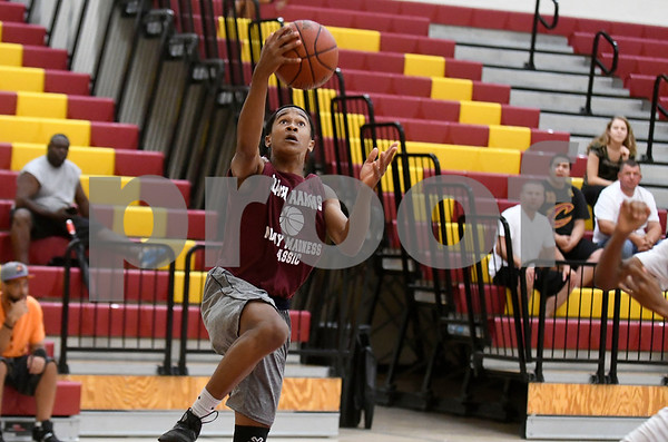 8/5/2017 Mike Orazzi | Staff New Britain's Devon Bishop (1) during Nutmeg Games basketball at New Britain High School Saturday afternoon.