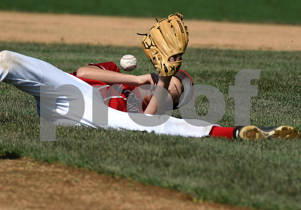 8/6/2017 Mike Orazzi | Staff The District of Columbia's Roland Hartman (14) has some trouble with a ground ball during the Eastern Regional Little League Tournament held at Breen Field in Bristol Sunday.