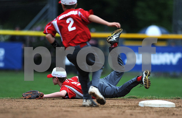 8/7/2017 Mike Orazzi | Staff Maine's Aiden Lee (3) during the Eastern Regional Little League Tournament held at Breen Field in Bristol Monday.