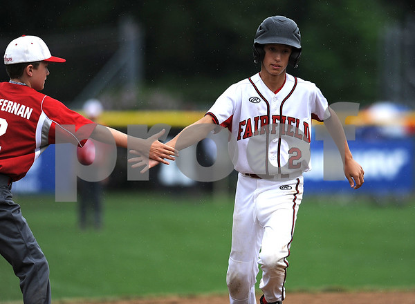 8/7/2017 Mike Orazzi | Staff Connecticut's Matthew Vivona (2) after a home run during the Eastern Regional Little League Tournament held at Breen Field in Bristol Monday.