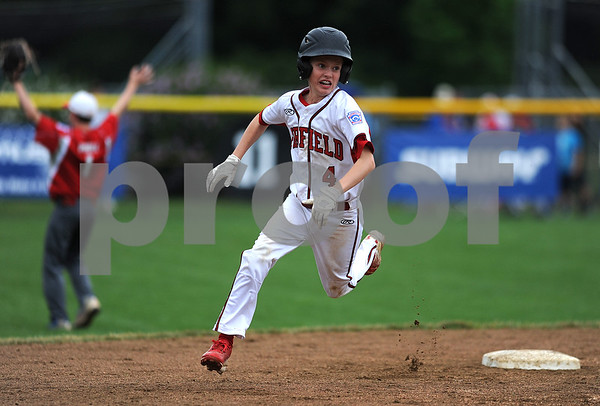 8/7/2017 Mike Orazzi | Staff Connecticut's Owen Kalagher (4) rounds second during the Eastern Regional Little League Tournament held at Breen Field in Bristol Monday.