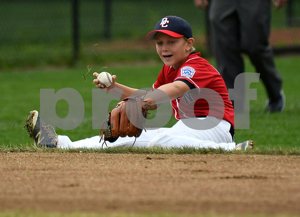 8/8/2017 Mike Orazzi | Staff Washington DC's Clark Mocek (5) fields a ground ball during a loss to Maryland in the Eastern Regional Little League Tournament in Bristol Tuesday morning.