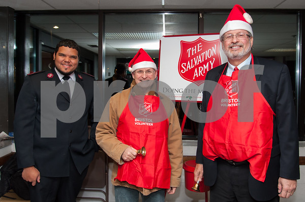 12/04/17 Wesley Bunnell | Staff State Senator Henri Martin, 2nd from L, and Representative William Petit Jr., R, volunteered as bell ringers for the Salvation Army in the entrance to Gnazzo's Food Center in Plainville on Monday evening. Lt. Emmanuel Echavarria from the Bristol Salvation Army is shown L.