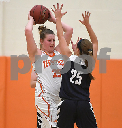 12/12/2017 Mike Orazzi | Staff Terryville's Lauren Jacobs (25) during Tuesday night's girl's basketball game with Shepaug.