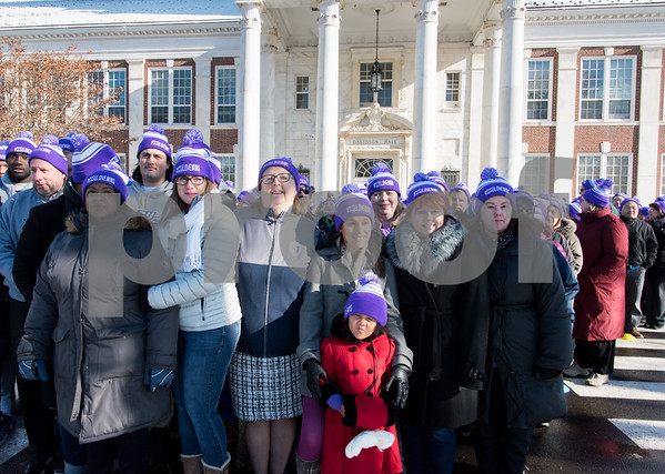 12/14/17 Wesley Bunnell | Staff Almost 500 people gathered outside in the shape of heart outside of Davidson Hall on CCSU's campus wearing purple hats with the hashtag #CCSULoveWins in honor of Ana Grace on the 5th anniversary of the Sandy Hook shootings.