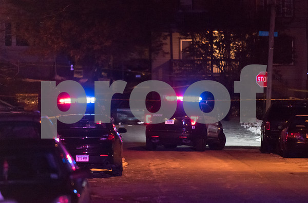 12/14/17 Wesley Bunnell | Staff A reported officer involved shooting occurred on Thursday evening near the intersection of Chapman St and Chapman Ct. Two police vehicles are shown at the intersection.