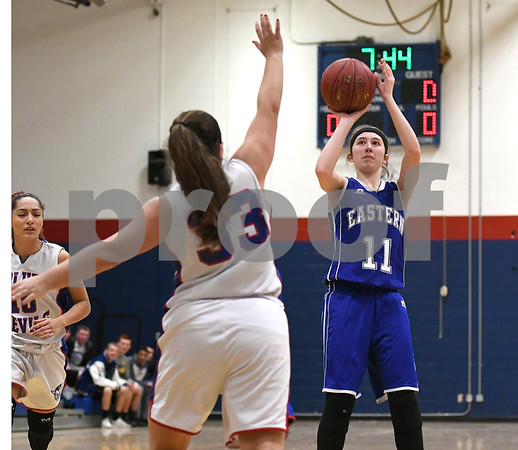 12/14/2017 Mike Orazzi | Staff Bristol Eastern's Hannah Maghini (11) during Thursday night's girls basketball game with Plainville.