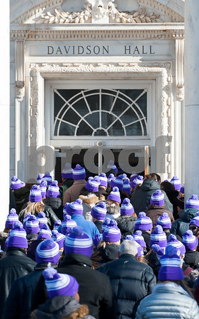 12/14/17 Wesley Bunnell | Staff Almost 500 people gathered in the shape of a heart outside of Davidson Hall on CCSU's campus wearing purple hats with the hashtag #CCSULoveWins in honor of Ana Grace on the 5th anniversary of the Sandy Hook shootings. The crowd wearing purple hats enter Davidson Hall at the conclusion of the event.