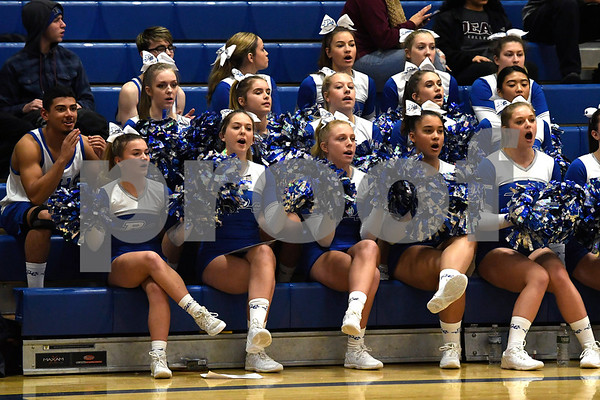 12/14/2017 Mike Orazzi | Staff Plainville High School Cheerleaders during Thursday night's girls basketball game with Bristol Eastern in Plainville.