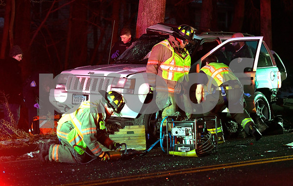 12/19/2017 Mike Orazzi | Staff The scene of a one vehicle crash on Willis Street near the Wolcott line in Bristol Tuesday evening.