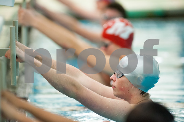 12/19/17 Wesley Bunnell | Staff Newington boys swimming defeated Manchester 94-69 on Tuesday afternoon at Newington High School. Sean Abrams of Newington prepares to compete in the 100m backstroke.