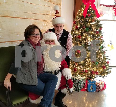 12/2/2017 Justin Muszynski | Staff Bristol Mayor Ellen Zoppo-Sassu, Santa and Kevin Prior during the 24th Annual Breakfast with Santa at Giamatti Little League Center Saturday morning.