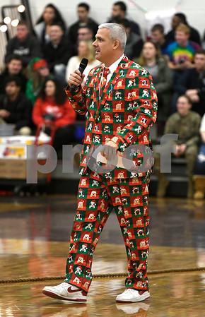 12/22/2017 Mike Orazzi | Staff Bristol Central High School Principal Peter Wininger during Festivus before Christmas break Friday in Bristol.