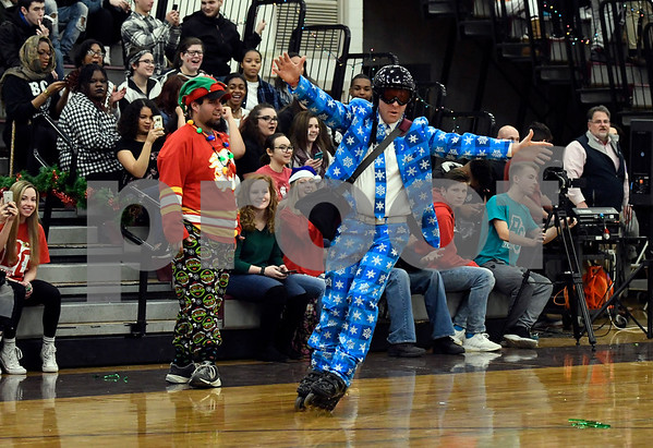 12/22/2017 Mike Orazzi | Staff Bristol Central's Ryan Broderick roller skates during Festivus during school activities before Christmas break Friday in Bristol.