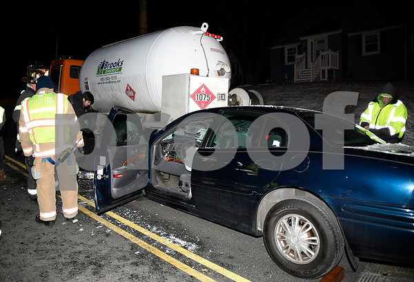 12/29/2017 Mike Orazzi | Staff The scene of a car into the back of a propane truck in the 900 block of Farmington Avenue. The driver of the car refused treatment and the driver of the truck was transported from the scene with complaints of back pain.