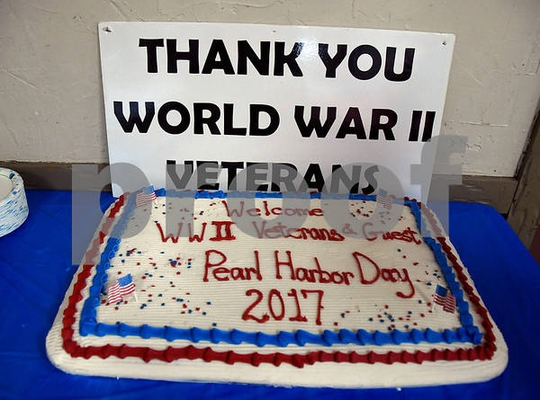 12/7/2017 Mike Orazzi | Staff The cake during the Pearl Harbor Day at Bristol American Legion Thursday morning.