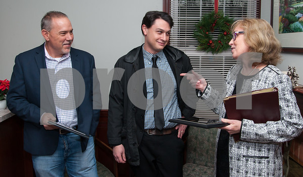 12/07/17 Wesley Bunnell | Staff HAVEN held a ribbon cutting at its new location in Berlin on Thursday afternoon to mark its relocation from Southington. State Representative Joe Aresimowicz, and his aide Matthew Brockman receive awards from HAVEN's Maureen Dinnan. Aresimowicz's award was for helping to create the Professional Assistance Account which in turn helps HAVEN to remain sustainable while Brockman's award assisting HAVEN with its access to the legislative process.