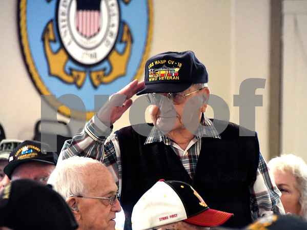 12/7/2017 Mike Orazzi | Staff WWII veteran Joseph Christophero during the Pearl Harbor Day ceremony at Bristol American Legion Thursday morning.