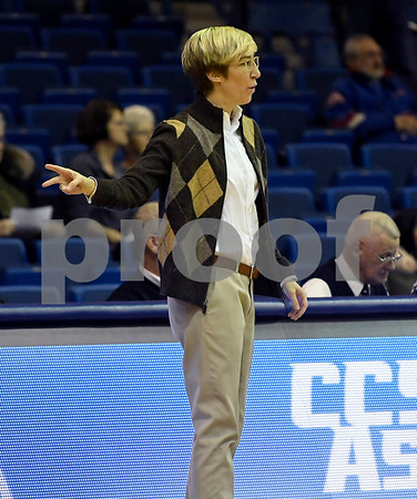 12/9/2017 Mike Orazzi | Staff Yale University head coach Allison Guth during women's hoops in New Britain.