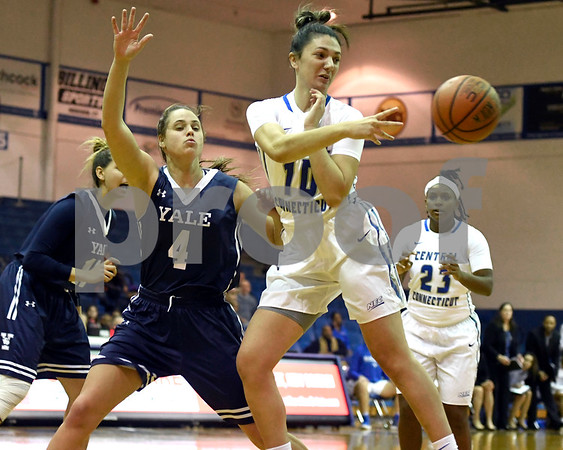12/9/2017 Mike Orazzi | Staff CCSU's Andi Lydon (10) and Yale University's Megan Gorman (4) in New Britain.