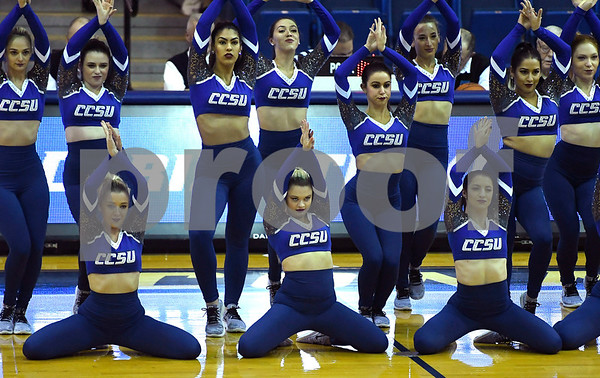 12/9/2017 Mike Orazzi | Staff Members of the Central Connecticut State University Dance Team during Saturday's women's basketball game with Yale University in New Britain.