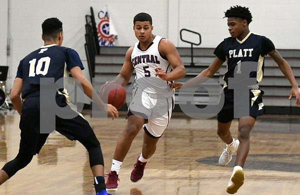 2/1/2018 Mike Orazzi | Staff Bristol Central's Isaiah Miller (5) during Thursday night's boys basketball game with Platt at BC.