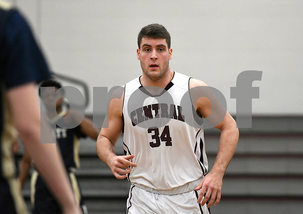 2/1/2018 Mike Orazzi | Staff Bristol Central's Alex Lape (34) during Thursday night's boys basketball game with Platt at BC.