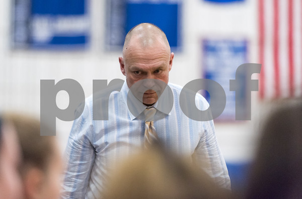 02/15/18 Wesley Bunnell | Staff Southington girls basketball defeated E.O. Smith 68-51 Thursday night at Southington High School in a CCC Tournament contest. Head Coach Mike Forgione turns and walks away after watching his team give up a basket.