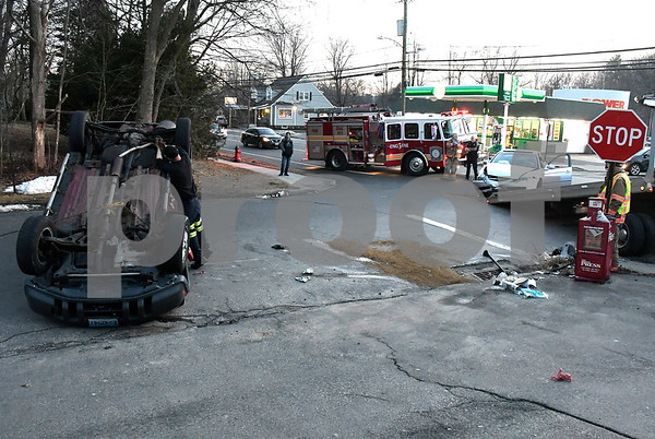2/20/2018 Mike Orazzi | Staff The scene of a two-car crash at the intersection of Stafford Avenue, Brook Street and Fair Street in Bristol Tuesday. No injuries were reported.